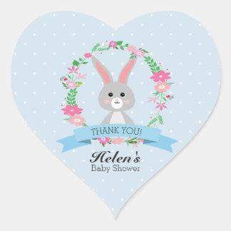 Little Bunny with florals wreath Baby Shower Heart Heart Sticker