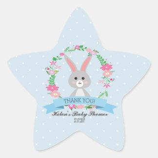Little Bunny with florals wreath Baby Shower Star Star Sticker