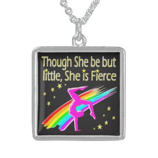 LITTLE BUT FIERCE GYMNASTICS DESIGN STERLING SILVER NECKLACE