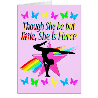 LITTLE BUT FIERCE RAINBOW GYMNASTICS DESIGN CARD