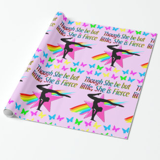 LITTLE BUT FIERCE RAINBOW GYMNASTICS DESIGN WRAPPING PAPER
