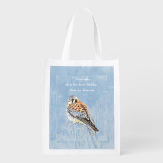 Little But Fierce Shakespeare Quote Kestrel Bird Reusable Grocery Bag