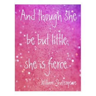 Little but Fierce Shakespeare Quote Pink Postcard