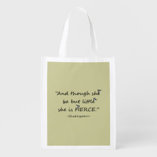 Little but Fierce Shakespeare Quote with  Birds Reusable Grocery Bag
