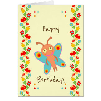 Little butterfly baby first birthday party card