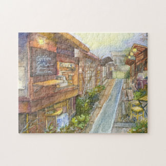 Little Cafe in Japan watercolour painting Puzzle