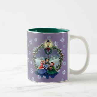 LITTLE CAROLERS & WREATH by SHARON SHAPRE Two-Tone Coffee Mug