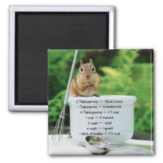 Little Chef Chipmunk Measurement Equivalents Square Magnet