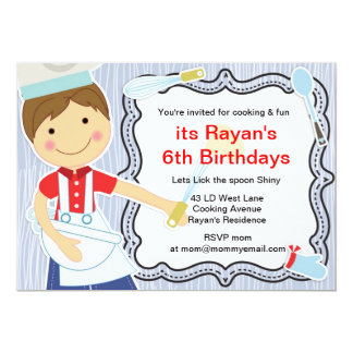 Little Chef Cooking and baking party for boys Card