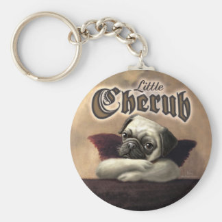 Little Cherub designs for Pug Lovers Key Chains
