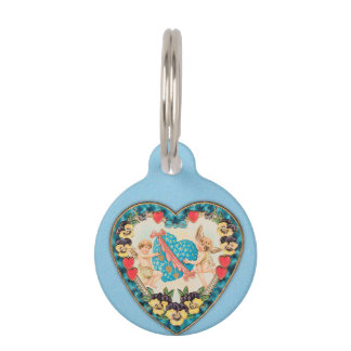 Little Cherubs with Heart Blue Background Pet Tag