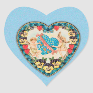 Little Cherubs with Heart Blue Background Stickers