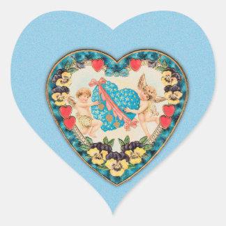 Little Cherubs with Heart Blue Background Stickers
