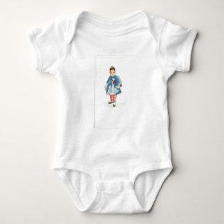 Little Chinese Girl Holding Umbrella Baby Bodysuit