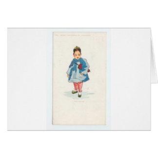 Little Chinese Girl Holding Umbrella Card