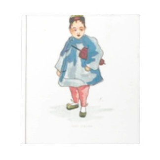 Little Chinese Girl Holding Umbrella Notepad