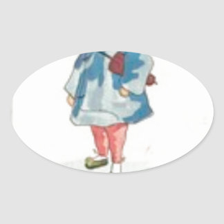 Little Chinese Girl Holding Umbrella Oval Sticker