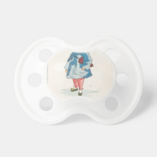 Little Chinese Girl Holding Umbrella Pacifier