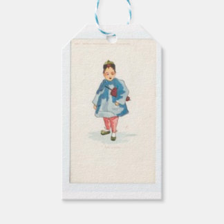 Little Chinese Girl Holding Umbrella Pack Of Gift Tags