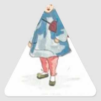 Little Chinese Girl Holding Umbrella Triangle Sticker