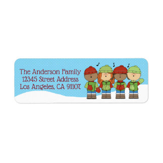 Little Christmas Carolers Return Address Label