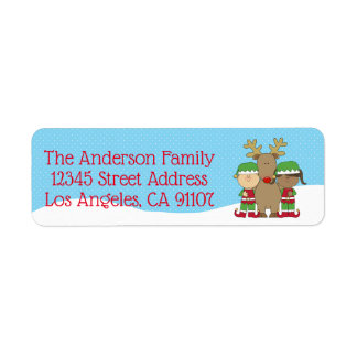 Little Christmas Elfs Return Address Label