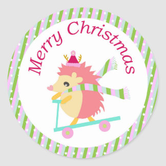 Little Christmas Hedgie Round Sticker