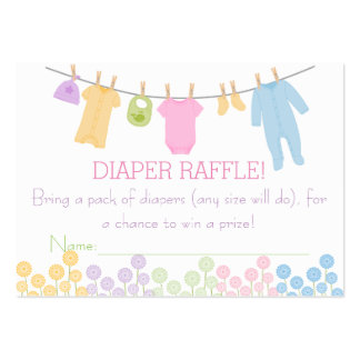 Little Clothes Baby Shower Diaper Raffle Tickets Large Business Card