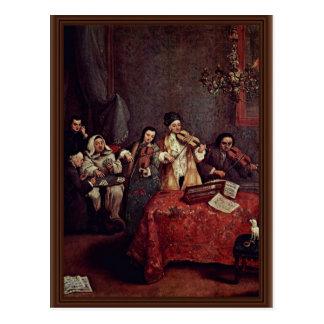Little Concert By Longhi Pietro (Best Quality) Postcard