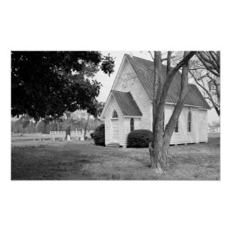 Little Country Church in Black and White Poster