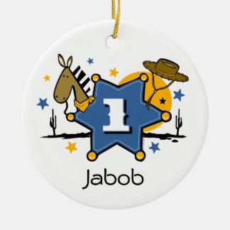 Little Cowboy 1st Birthday Keepsake Ornament