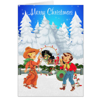 Little Cowboy and Cowgirl With Rope Lights  Horse Card