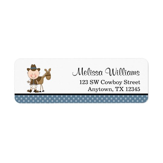 Little Cowboy Blue Polka Dots Return Address Label