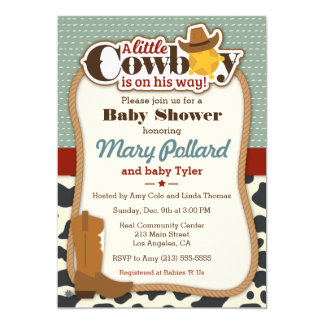 Little Cowboy Modern Baby Shower Invitation