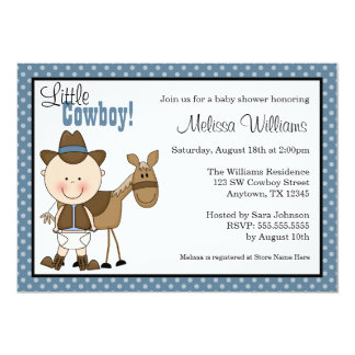 Little Cowboy Polka Dots Baby Shower Invitations