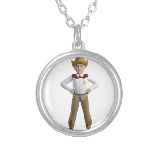 Little Cowboy Sheriff Silver Plated Necklace