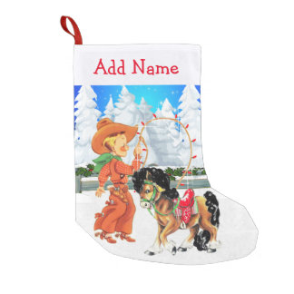 Little Cowboy With Rope and  Horse  Winter Scene Small Christmas Stocking