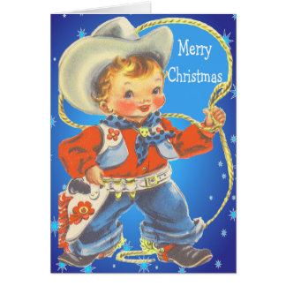 Little Cowboy With Rope Merry Christmas Card