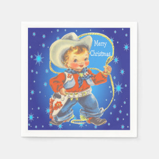 Little Cowboy With Rope Merry Christmas  Party Disposable Napkins