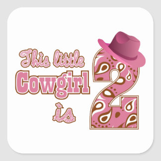 Little Cowgirl 2nd Birthday Square Sticker