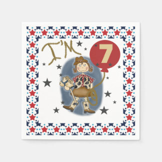 Little Cowgirl 7th Birthday Paper Napkins