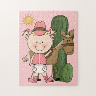 Little Cowgirl and Brown Cow Pony - Western Jigsaw Puzzle