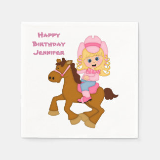 Little Cowgirl and Pony Birthday Disposable Napkins