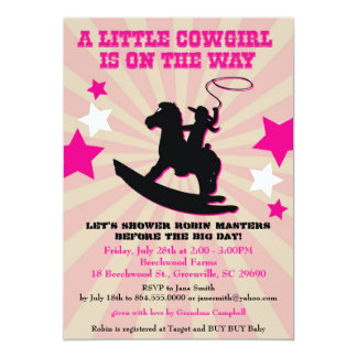 Little Cowgirl Baby Shower Invite Rocking Horse