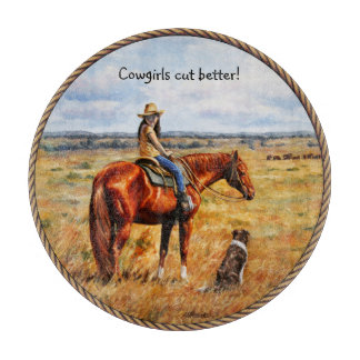 Little Cowgirl on Cattle Horse Cutting Board