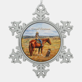Little Cowgirl on Cattle Horse Pewter Snowflake Ornament