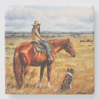 Little Cowgirl on Cattle Horse Stone Coaster