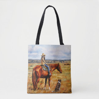 Little Cowgirl on Cattle Horse Tote Bag