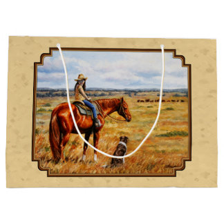 Little Cowgirl on Cattle Horse Yellow Large Gift Bag