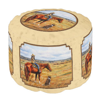 Little Cowgirl on Cattle Horse Yellow Round Pouf